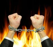 Hands in chains Royalty Free Stock Photos