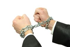Hands in chains Stock Photos