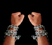 Hands with chains Stock Photos
