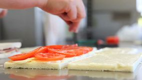 Hands chef prepare sandwiches stock video