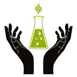 Hands with chemical flask vector symbol Royalty Free Stock Photo