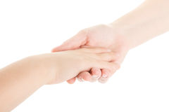Hands of child and him mother stock image