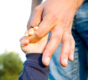 Hands of child son and father. Trust family hands of child son and father on field nature outdoor Royalty Free Stock Photos