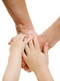 Hands the children and parents Royalty Free Stock Photos