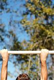 Hands on chin-up bars 02. A set of chin-up bars at boot-camp on Parris Island stock photography