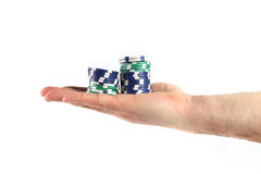 Hands and chips Royalty Free Stock Photos