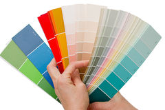 Hands on choosing color swatches Stock Image