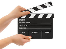 Hands with cinema clapboard Royalty Free Stock Image