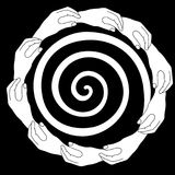 Hands circle helping frame border. Hands holding hands circular frame border with a swirl inside. Help Concept. Black and white monochrome illustration Royalty Free Stock Photos