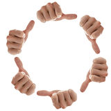 Hands in a circle with thumbs up sign Royalty Free Stock Images