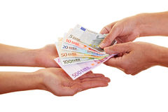 Hands claiming european money. Two hands claiming many european money banknotes Royalty Free Stock Photography