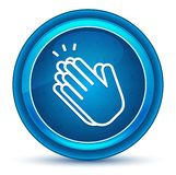 Hands clap icon eyeball blue round button vector illustration