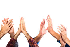 Hands Clapping. Hands Raised Up Clapping on White Background stock photo