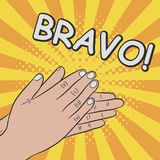 Hands clapping, applause - bravo. Comics illustration. In pop art retro style at sunburst background with dot halftone effect. Vector vector illustration