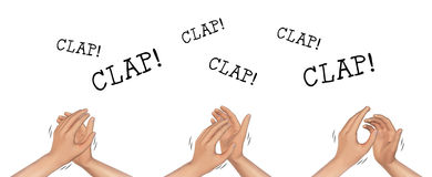 Hands Clapping Hand Applause Illustration. Illustration of hands clapping isolated on white background Royalty Free Stock Image