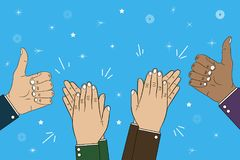 Hands clapping, applause and thumb up gesture - bravo. Congratulations concept illustration. Vector. Hands clapping, applause and thumb up gesture - bravo stock illustration