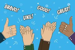 Hands clapping, applause and thumb up gesture. Congratulations concept illustration with text - bravo, great, like, good. Vector. Hands clapping, applause and royalty free illustration