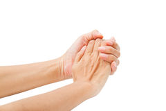 Hands clasped hands with hope isolated on white background stock image