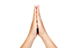 Hands clasped in prayer Royalty Free Stock Photos
