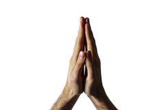 Hands clasped together for a prayer Royalty Free Stock Photos