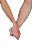 Hands clasped of two lovers. Isolated on white background Stock Photos