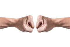 Hands with clenched a fist isolated white background Stock Photo