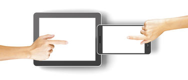 Hands clicking generic 3d rendered tablet and Stock Photography