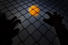 Hands climbing iron bar in dark night with full moon background Royalty Free Stock Photography