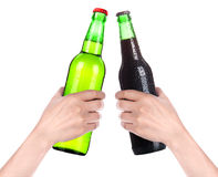 Hands Clinking Glasses Beer isolated Royalty Free Stock Image