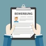 Hands Clipboard Bewerbung. German text Bewerbung, translate Application Stock Photos