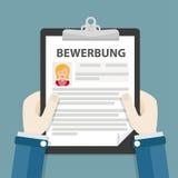 Hands Clipboard Bewerbung Woman. German text Bewerbung, translate Application Stock Photos