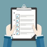 Hands Clipboard Checklist. Hands with clipboard and checklist Royalty Free Stock Image