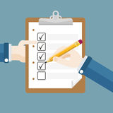 Hands Clipboard Pencil Checklist Royalty Free Stock Photos