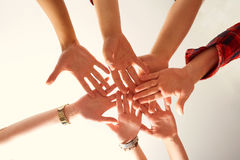 Hands close-up of friends joined together. The concept of friend royalty free stock photos