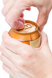 Hands with a closed  can Royalty Free Stock Image