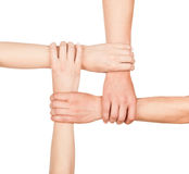 Hands are closed, hands holding each other in unity Royalty Free Stock Photography
