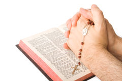 Hands closed in prayer Royalty Free Stock Images