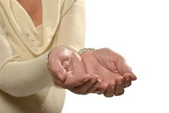 Hands closeup  on white Royalty Free Stock Photo