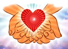 Hands in Clouds Holding Heart. Hands reaching down from out of the clouds of heaven with a radiantly shining and glowing red heart in palms. Sharing, caring Stock Photo
