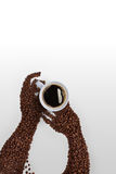 Hands and coffee. stock images