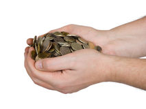 Hands and coins Stock Photography
