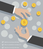 Hands Coins. Business man exchanging coins concept background Royalty Free Stock Images