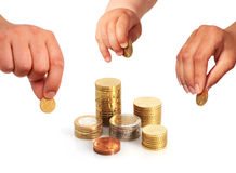 Hands with coins. Royalty Free Stock Photography
