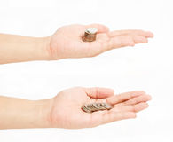 Hands and coins, Royalty Free Stock Photos