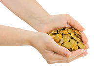 Hands with coins Royalty Free Stock Images