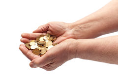 Hands with Coins on White Stock Photo