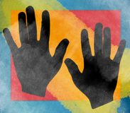 Hands Collage Background. A background illustration of a pair of hands in black on rough multi-colored background Royalty Free Stock Image