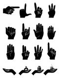 Hands Collection. Set of different hand gesture icons in black Royalty Free Stock Photos