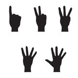 Hands collection - set of variety  gestures. Finger count pictogram, White Cartoon Hands collection Stock Photo