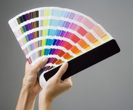 Hands and color guide. Photo of a young woman's hands holding a color guide royalty free stock photo